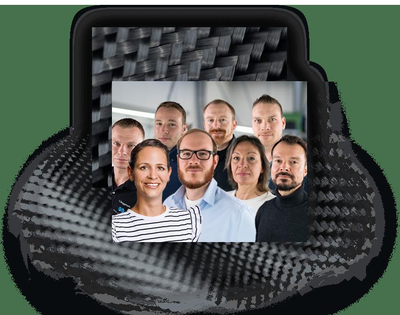 Bild von acht Mitarbeiterinnen und Mitarbeitern der Nieke Composites GmbH